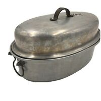 Royal Roaster Pan Oval Aluminum with Vented Lid Antique