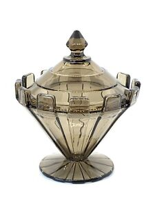 Cambridge Glass Moderne Covered Candy Box or Jar in Smoke
