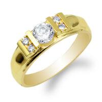 Womens 10K/14K Yellow Gold Round CZ Stylish Wedding Ring Size 4-10