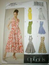 Vogue 8727 Retro Style Dress Halter Sundress Pattern 14-22