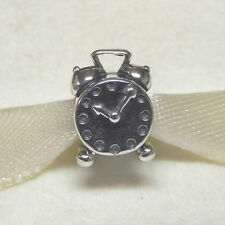 New Authentic Pandora Charm Vintage Alarm Clock 790449 Bead W Tag & Suede Pouch