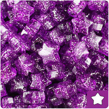 250 Lilac Purple Sparkle 13mm Star Pony Beads Plastic Made in the USA