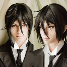 Anime Kuroshitsuji Black Butler Sebastian Michaelis Short Black Cosplay Hair Wig