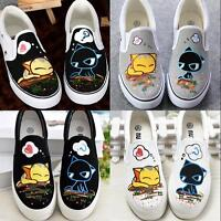 Womens Fashion Round Toe Casual Cartoon Sneakers Low Top Slip On Canvas Shoes