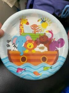Noah's Ark 7-inch Paper Plates 8 Per Pack Baby Shower Decorations Supplies New!!
