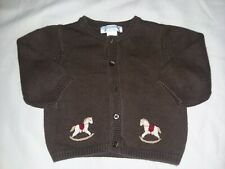 Janie And Jack 2011 Nostalgic Holiday Brown Rocking Horse Button Sweater Layette