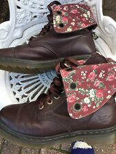 Doc Martens Aimilie Brown/floral Leather 9hole Ladies Boots Uk7/41 Stunning