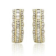 0.50Ct Round & Baguette Diamond Hoop Earrings Gold Over 925 Sterling Silver