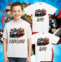 Personalised Marvel Superhero T-Shirts, Hulk Captain America Spiderman Kids Top