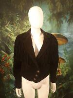 Vintage Womens Vintage Leather Fringe Jacket Western black suede