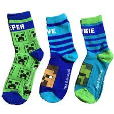 3 pairs Boys Kids Children Child Minecraft Cotton Socks Size UK 6-5.5 EU. 23-38