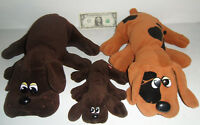 3 Vintage Pound Puppies Plush Dogs Family Lot Tonka 1985 2 Large 1 Small Mom Dad
