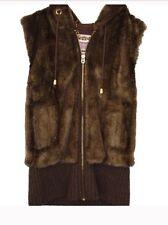 Juicy Couture Faux Fur Vest Coat S Small Brown Winter