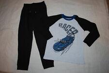 "Boys Outfit Race Car ""Racer"" L/S Shirt Gray Waffle Knit Black Sweat Pants Size 8"
