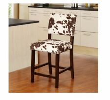 Linon Stationary Counter Stool Plush Cow hide Print Seat High Back Chair Armless
