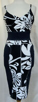 GIANFRANCO FERRE Tropical Floral Bodycon Sleeveless Stretch Dress Made n Italy S