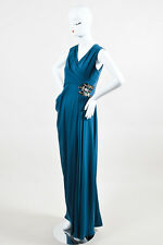 J. Mendel Teal Silk Bead Embellished V Neck Sleeveless Gown SZ 8