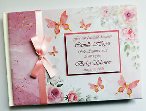 Floral baby shower guest book with butterflies, rose gold baby shower book
