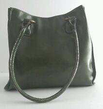100% PVC Green Tote Handbag With Faux Alligator Straps