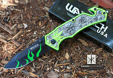 """8"""" Assisted Open Tactical Pocket Knife with Marijuana Leaf and Skull Design Hand"""