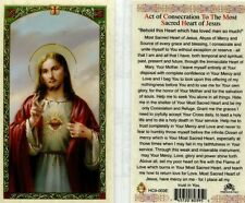 Sacred Heart Jesus Act of Consecration Laminated From Cromo Italy JimsStoreUSA