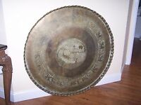"""Antique GIANT 45"""" Copper Brass Persian Turkish Tray Table Top Wall Art Bohemian"""