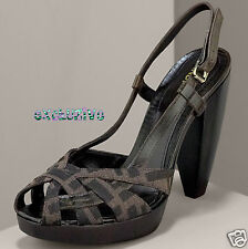 NEW FENDI FENDISSIMA FF LOGO PEEP TOE PLATFORM SHOES 9½