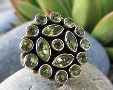 Vintage Sterling Silver 925 Peridot Cluster Ring Size 7 Jaipur India Handmade