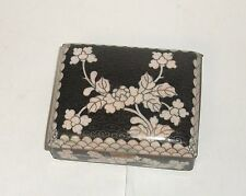 Old Chinese Cloisonne Black Enamel White Floral Humidor Footed Jar Box