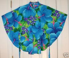 HAS BELT! M -L Vintage POMARE HAWAII Cape-style top Tropical Floral Blue Poly XC