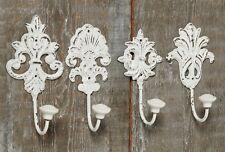 4 Piezas Gancho de la pared blanco Ganchos Hierro Fundido Perchero Hierro