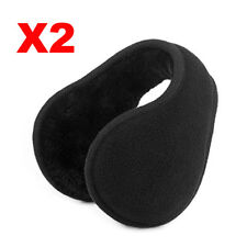 2X Black Adult Men  Ear Warmers Winter Ear Muffs Behind the Head Band