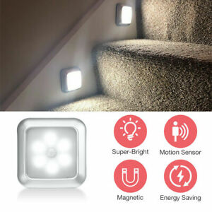 1x 6 LED Motion Sensor Night Lights PIR Wireless Wall Closet Stair Wireless Lamp