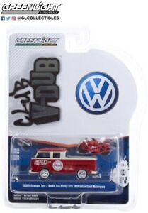Greenlight 36030-A Club Vee-Dub 1968 VW Type 2 Double Cab w/ Indian Motorcycle