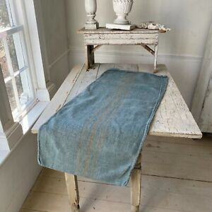 Dyed Blue Grain Sack Caramel Stripe Linen Fabric Rustic Grainsack Vintage hemp