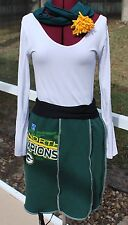 Green Bay Packers Green Gold Game Day A line Skirt Upcycled Vintage Sweatshirt S