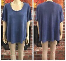 Eileen Fisher Blue Organic Linen Short Sleeve Scoop Neck Top Plus Size 1X