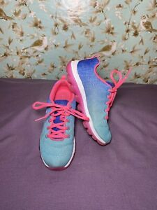 Size 1 YOUTH   S Sport Shoes Girls Ombré Lace Up Athletic By Skechers