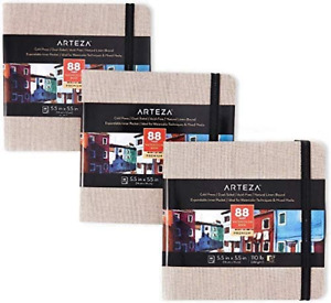 Arteza Watercolour Sketchbook 14 x 14 cm, Pack of 3, 88 Pages per Journal, Grey