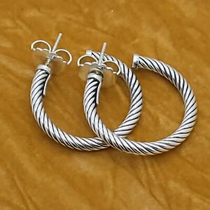 """David Yurman Classic Cable Crossover Hoop Sterling Silver Small Earrings 1"""" Inch"""