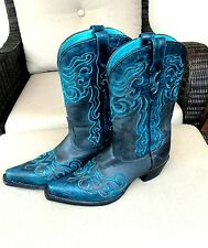Women's Tony Lama Style 6021 Teal & Black Cowboy Boots Size 8
