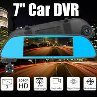 7'' HD 1080P Smart Car Rear View Mirror Recorder DVR Dual Lens Camera Dash Cam