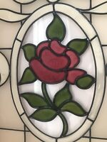 """Framed Rose Stained Glass Window Gallery Wall VTG Decor  14"""" X 18"""" Cottagecore"""