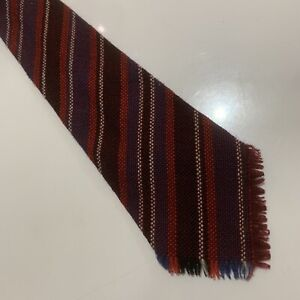 Mens 100% Wool Tie - Red Blue And White Stripe Design