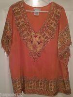 Jessica London Woman's Plus Orange/Gray/Yellow/Red Design w/ Beads Shirt Size 18