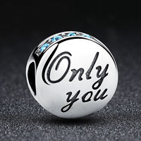 Authentic S925 Sterling Silver ONLY YOU Blue Crystal Charm Bead for Bracelet