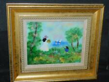 "Louis Cardin orig Framed Enamel on Copper 1982 signed Painting 13"" X 15"" boats"