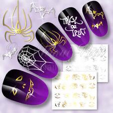 Nail Art Water Transfers Decals Stickers Pumpkin Web Halloween Spiders Bats C049
