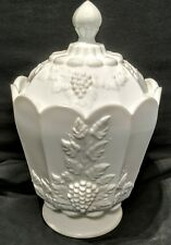Westmoreland Milk Glass Paneled Grape (LARGE) Canister with Lid