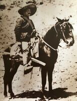 "Mexican Revolution Pancho Villa on His Horse ""Siete Leguas"". Vintage Photo 16x20"